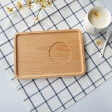 japan style beech wood serving tray with groove rectangular solid whole wood bread coffee plate tea