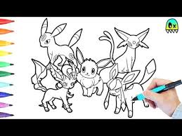 Small Picture Pokemon Coloring Pages Eevee Evolution colouring book fun YouTube