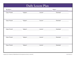 lesson plan template for kindergarten daily lesson plan template