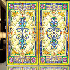 continental retro stained glass window stickers electrostatic painting art church frosted glass doors wardrobe furniture