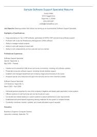 It Support Specialist Resume Resume For Study