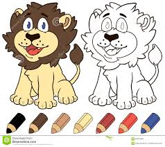 happy cartoon lion vector coloring book ilration stock vector ilration of nature