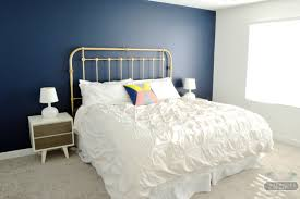 Navy, Gold, and White Master Bedroom | Interiors by Kenz