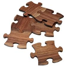unique wooden puzzle coasters