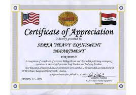Certificates Of Appreciation Serka Services Portfolio Categories Certificates Of