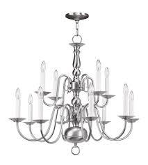 livex 5012 91 williamsburgh 12 light 26 inch brushed nickel chandelier ceiling light