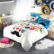 Elegant Mustache Bedding For Teen Girls Gentleman Funny Cute Blue And White Bed  Sheets Duvet Cover Set