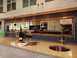 Mirror Backsplash In Kitchen Cottage Kitchen With Framed Mirror And Ceramic Tiles Backsplash