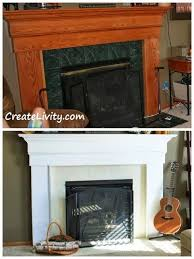 fireplace makeover painting tiles fireplace before and after