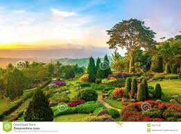 Small Picture Beautiful Garden Of Colorful Flowers On Hill Stock Photo Image