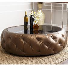 abbyson living 42 havana round leather coffee table in brown