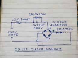 mains operated 25nos led lamp 7 steps pictures circuit diagram