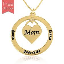 24k gold plated heart mom kids 3 names necklace