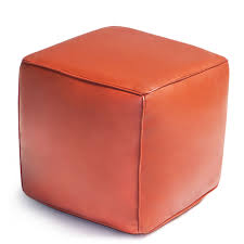 square leather moroccan pouf  modern furniture  jonathan adler