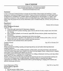 Heavy Equipment Mechanic Resume Sample Livecareer