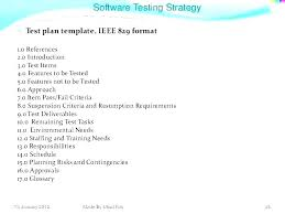 Standard Test Plan Template System In French Software