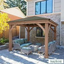 yardistry 12ft x 12ft 3 7 x 3 7m cedar gazebo with peaked aluminium solid