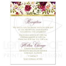 Beautiful Burgundy Watercolor Flowers Wedding Insert Florals