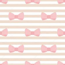 seamless vector pattern with pastel pink bows on a light brown and white stripes tile background