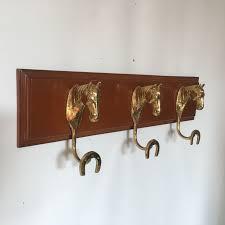 Brass Horse Head Coat Rack Simple Heavy Wooden Coat Rack With Three Brass Horse Heads In Combination