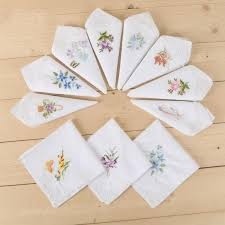 lady cotton embroidered handkerchief white background lace corner embroidery tea towel handkerchief gift