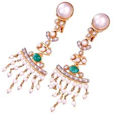 18k gold diamond emerald and pearl chandelier earrings 1 0 ct tw si i diamonds