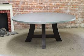 round zinc table with timberland pedestal base