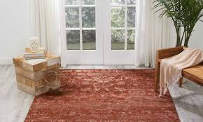 nourison silk shadows rust hand knotted 8x10 rug room shot