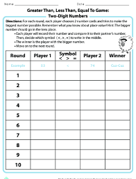 Std Fact Chart Se 38 Answers Greater Than Less Than Equal To Game Lesson Plan