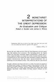 monetarist interpretations of the great depression an evaluation the great depression re ed the great depression re ed