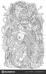 Koi En Dragon Gate Overzicht Stockvector Insima 174502650