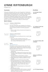 Freelance Writer/Editor Resume samples