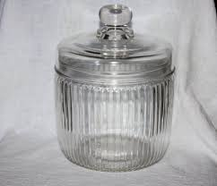 vintage anchor hocking glass ribbed cookie candy jar with lid
