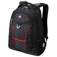 <b>Рюкзак WENGER</b>, <b>универсальный</b>, черный, красные полосы ...