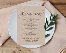 Dinner Menu Wedding Menu Printable Wedding Menu Wedding Menu Pdf