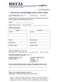 Application For Membership Membership Application Form 2013 2014 Galway1