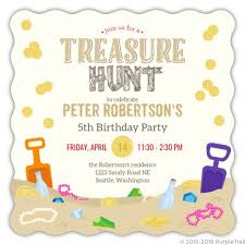 kids birthday party invitations sand treasure hunt birthday party invitation
