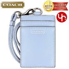 coach coach accessory card holders f68075 sky saffiano leather lanyards id case
