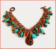 southwestern desert blue sky colors copper and turquoise spiny oyster charm bracelet