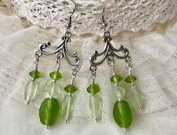 white indian beads chandelier earrings