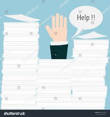 businessman need help under paper stock vector  businessman need help under a lot of paper