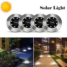 Outdoor Lighting Without Electricity Amazon Com Solar Disk Ground Lights Waterproof Stainless