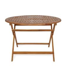 round wooden garden table large