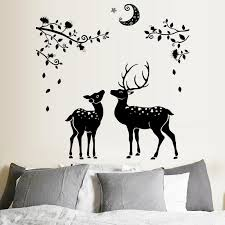 3d black deer wall sticker home deoration removable lovely cartoon tree wall decal waterproof bathroom stikers decals for home decals for home decorating