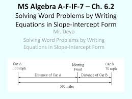 writing equations in slope intercept form solving word problems by writing equations in slope intercept form