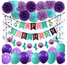 Paper Flower Hats Mermaid Balloons Party Supplies Happy Birthday Banner Mermaid Confetti And Hats Paper Flower Decorations Perfect Birthday Decorations For Girls