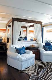 zebra print bedroom furniture. Nautical Bedroom Furniture And Wooden Canopy Bed Frame With White Privacy Curtain Window Roman Shades Blue Pillow Accessories Animal Print Rug Zebra