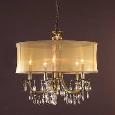 crystal chandelier with drum shade. Modern Glam Shaded Crystal Chandelier - 5 Light With Drum Shade