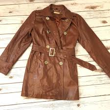 details about iman women s rock the runway brown leather quilted jacket trench coat size xs