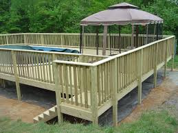 square above ground pool with deck. Backyard With Wooden Side Deck Over Pool Inground And Wood Square Above Ground